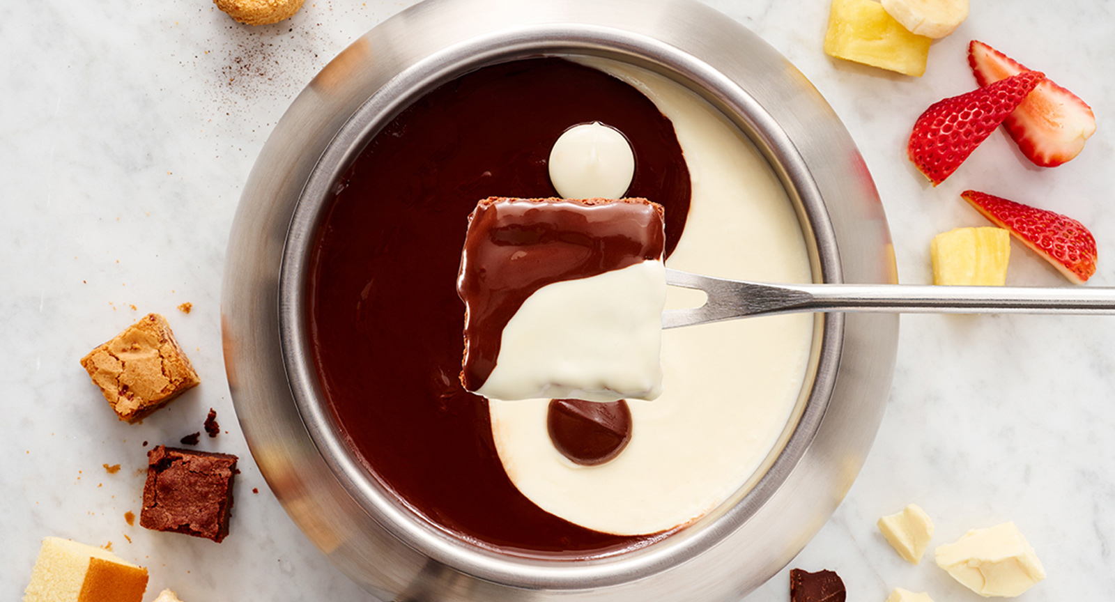 Yin and Yang Chocolate Fondue on Table