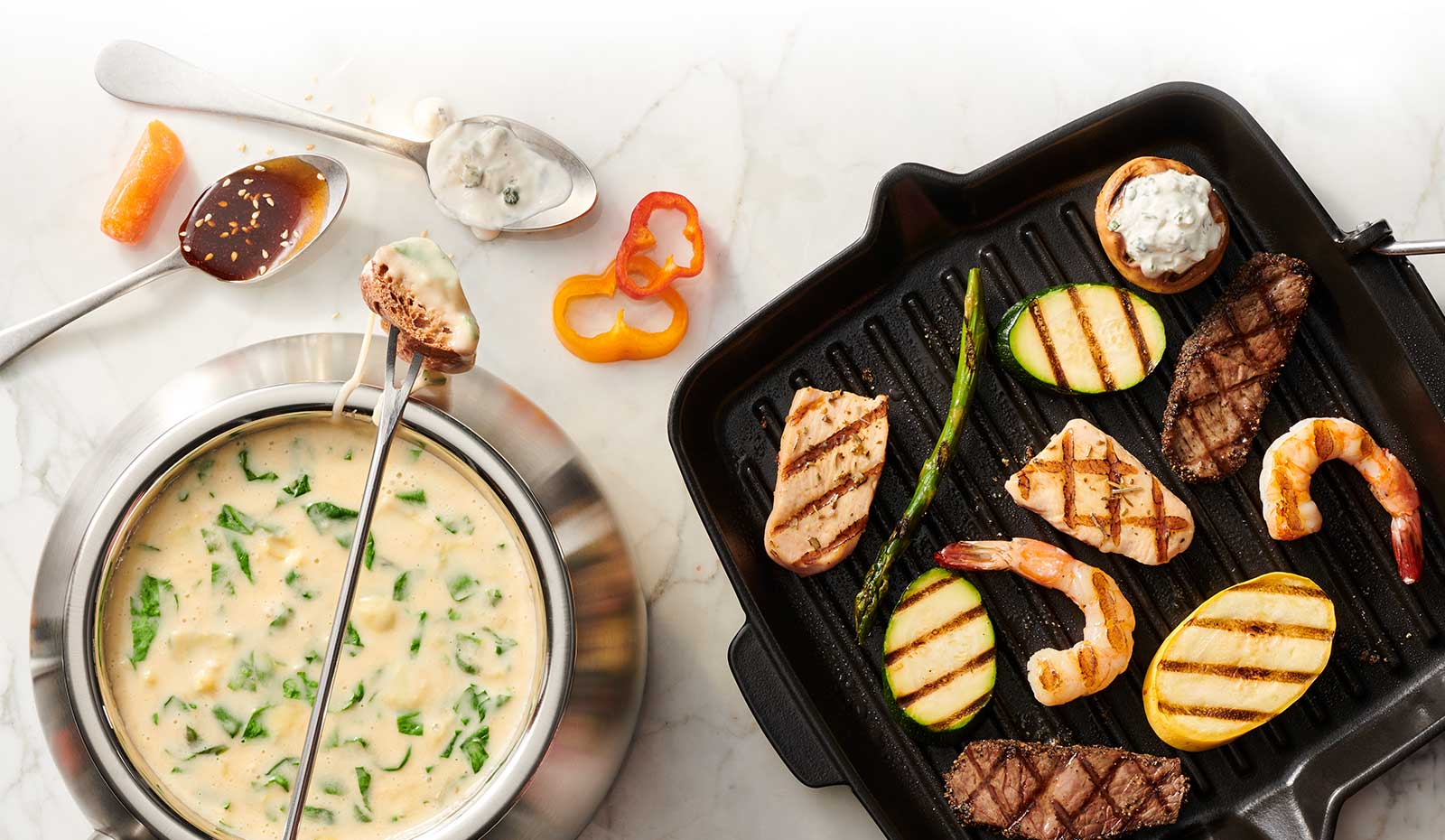 Grill Cooking Style and Cheese Fondue