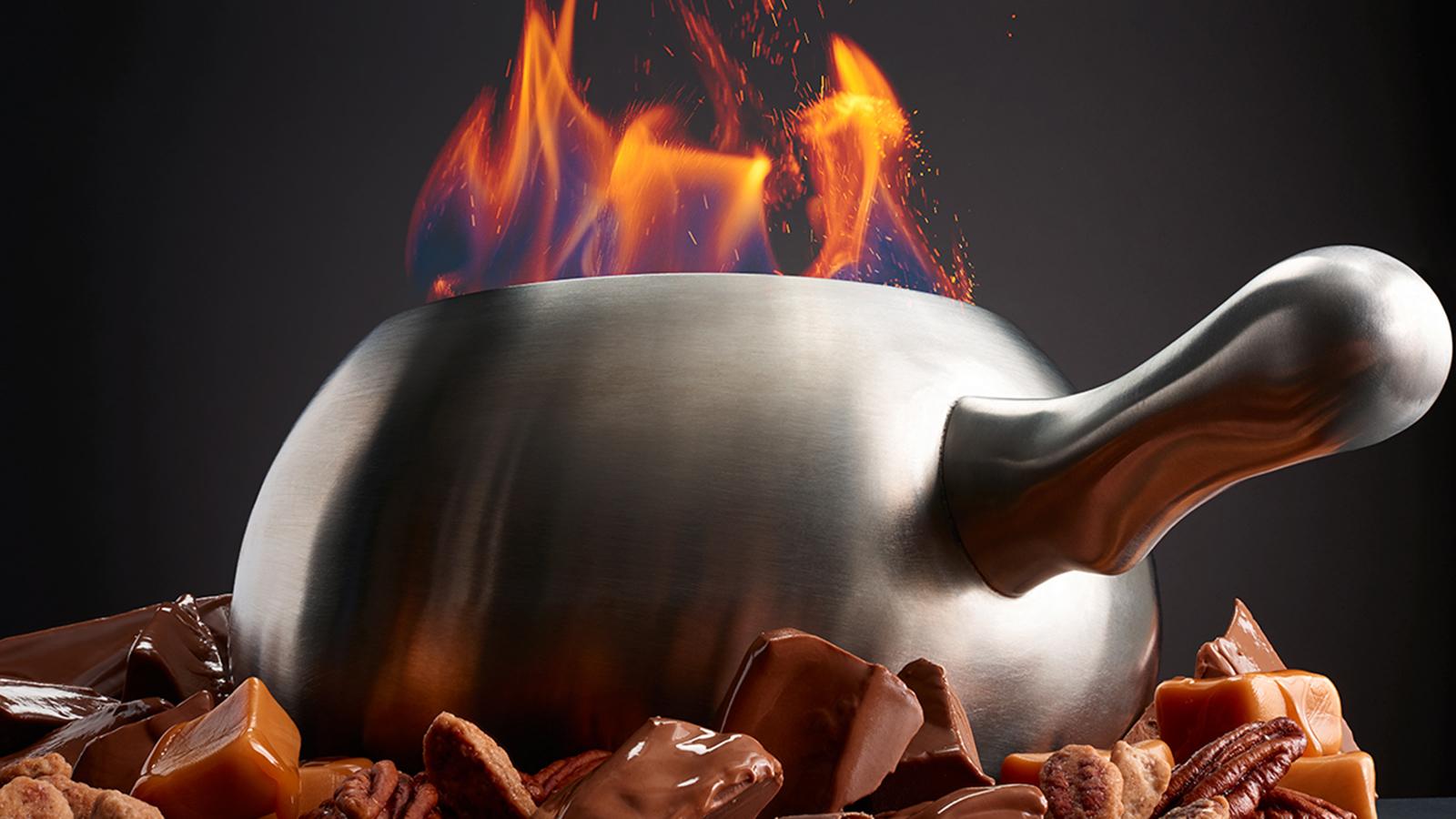 Flaming Pot of Chocolate Fondue