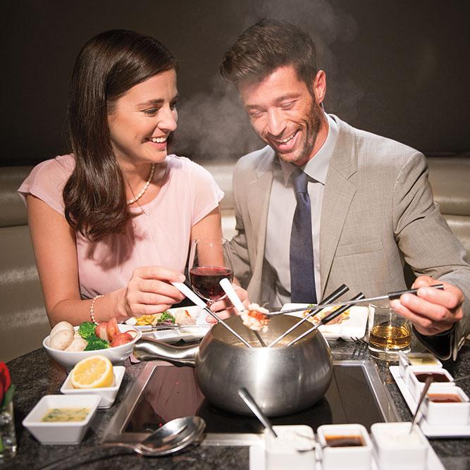 Couples enjoy fondue